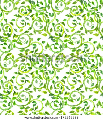 Seamless curled background with green design - scrolls and leaves - stock photo