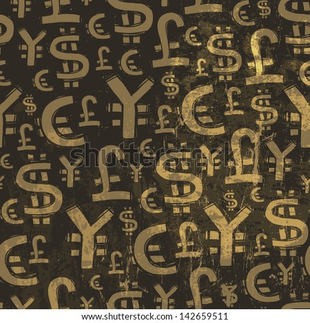 Seamless currency pattern on grunge texture. Raster version, vector file available in portfolio. - stock photo