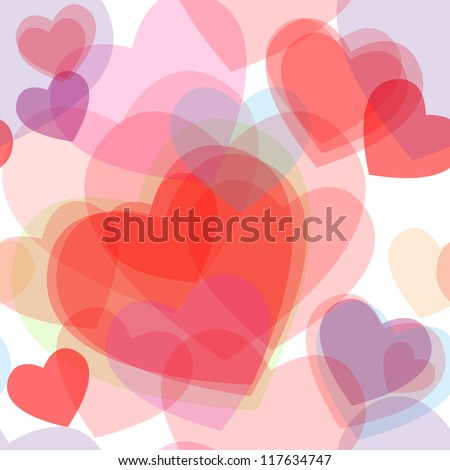 Seamless cute transparent heart symbols in different colors overlaid to form beautiful pattern, great for love or valentines day card.