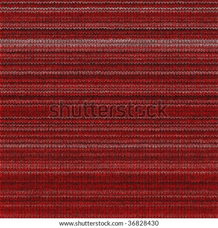 seamless 3d texture of red knitting structure in horizontal rows - stock photo