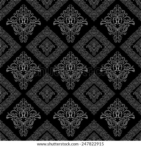 Seamless damask floral geometric Wallpaper -  gray and black colors. Raster version. - stock photo
