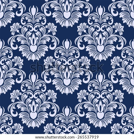 Seamless damask floral Pattern in blue colors. Raster version. - stock photo