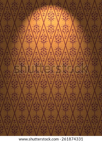 Seamless Damask Floral Wallpaper Pattern in several different colors - stock photo