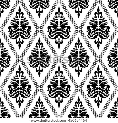 Seamless Damask Pattern Baroque Floral Motifs Stock Illustration ...