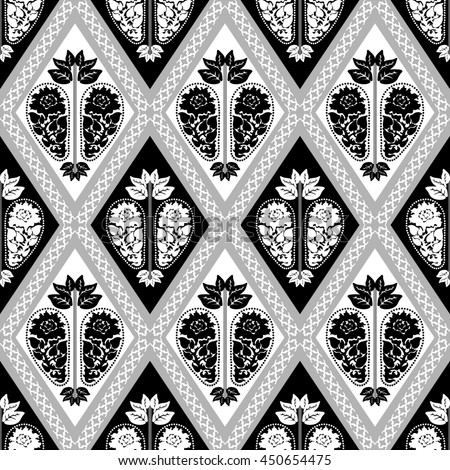 Seamless damask pattern with baroque floral motifs. Art Deco wallpaper collection. Black and white.