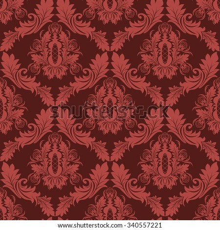 Seamless damask retro Wallpaper in red Colors. Raster version.