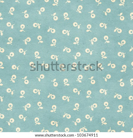 Seamless dandelion flowers pattern on paper texture. Floral background - stock photo