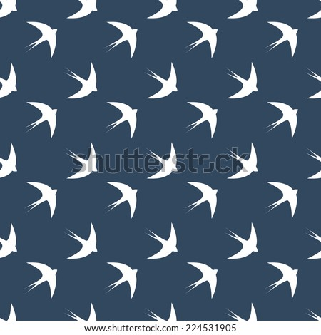 Seamless dark blue swallows pattern - stock photo