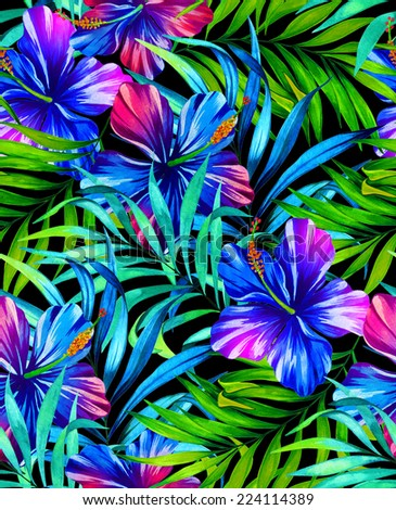 seamless dark jungle tropical floral pattern, watercolor illustration. - stock photo