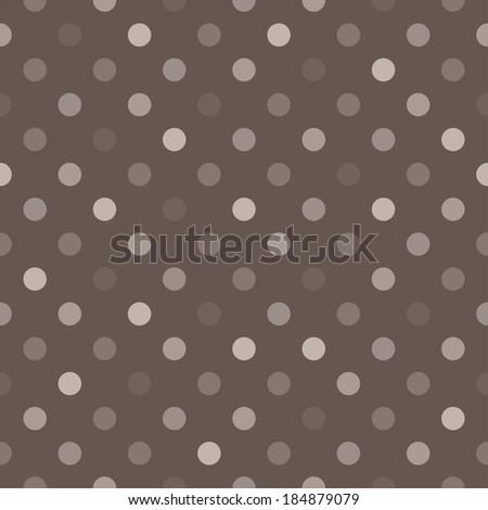 Seamless dark pattern with beige, brown and grey polka dots on dark brown background. For website, web design, desktop wallpaper, blog background, arts and scrapbooks. - stock photo