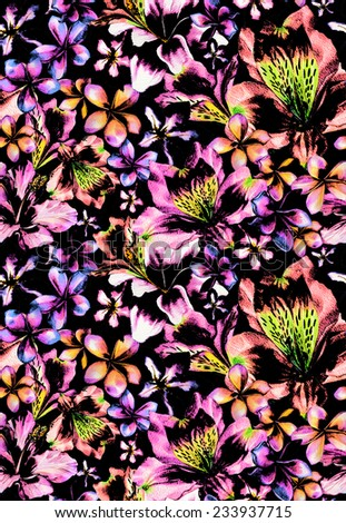 seamless dark tropical pattern. made of exotic flower heads, looks like a flowerbed. very dramatic, with hibiscus,frangipani, alstroemeria, lily flowers. - stock photo