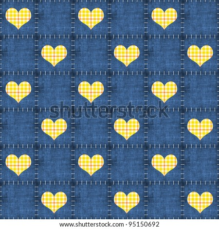 Seamless Denim & Yellow Plaid Hearts Background Wallpaper - stock photo