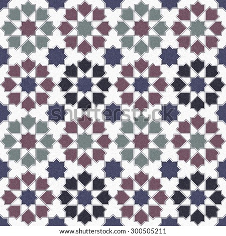 Seamless design mosaic of colorful tiles pattern in blue green red white and black. - stock photo