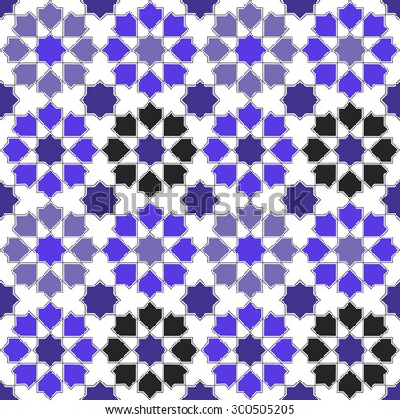 Seamless design mosaic of colorful tiles pattern in blue white and black. - stock photo
