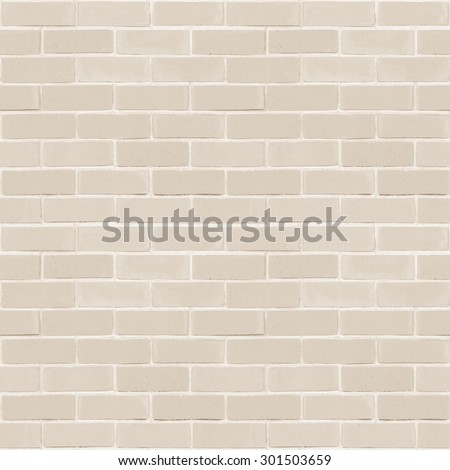 Seamless design style light cream brown tone brick wall detailed pattern textured  background: Seamless retro grungy brickwork masonry detail square backdrop in beige creme color                - stock photo