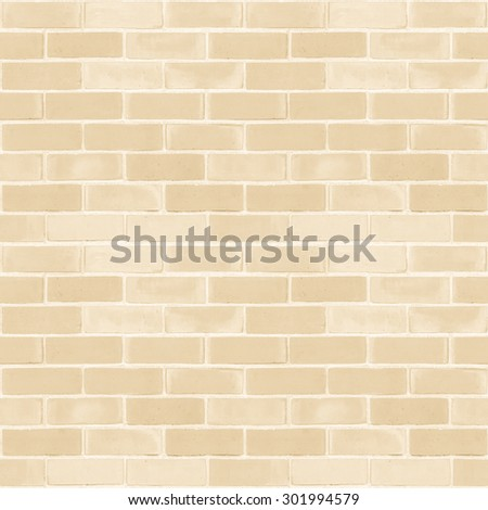 Seamless design vintage style light cream beige tone brick wall detailed pattern textured  background: Seamless retro grungy brickwork masonry detail square backdrop in yellow creme color - stock photo