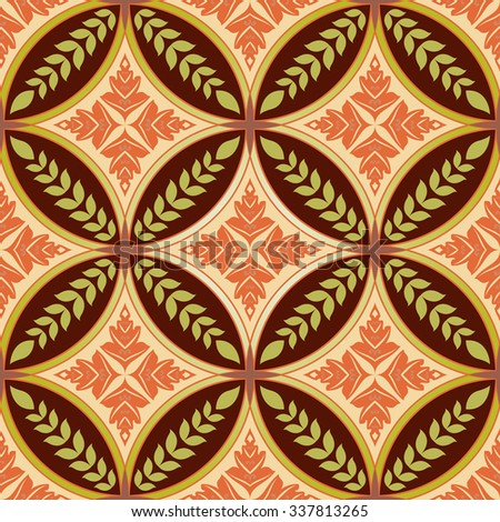 Seamless diamond and circle shapes floral pattern. - stock photo