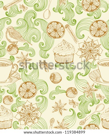 Seamless doodle background for tea time, illustration for design - stock photo