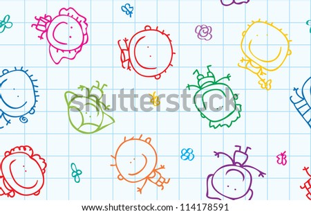 Seamless doodle background of happy children with flowers on school paper texture