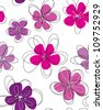 Seamless doodle floral pattern. Raster. - stock vector