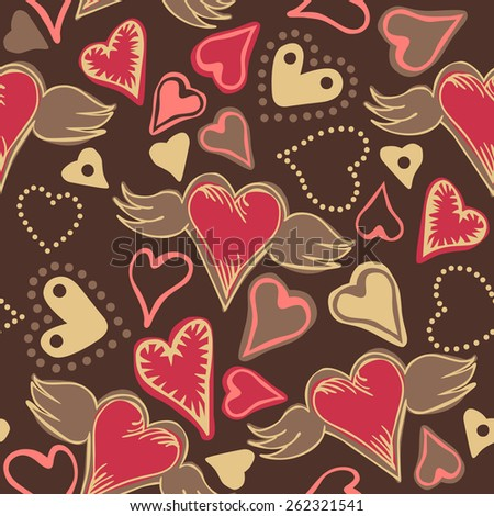 seamless doodle pastel colored hearts on dark grey background - stock photo