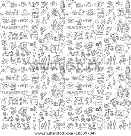 Seamless doodles business pattern - stock photo