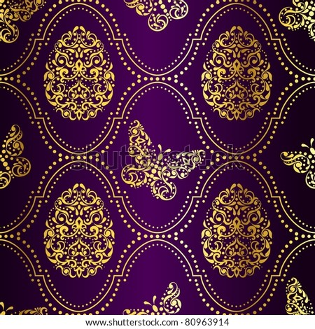 Seamless Easter background in purple and gold (jpg); vector version also available - stock photo