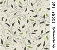 Seamless ecology pattern with leaves, raster version, vector file available in portfolio. - stock photo