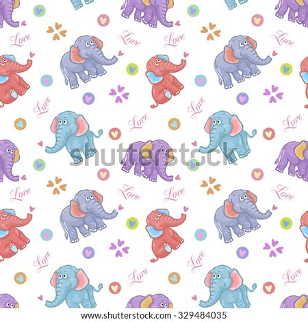 Seamless elephant kids pattern - stock photo