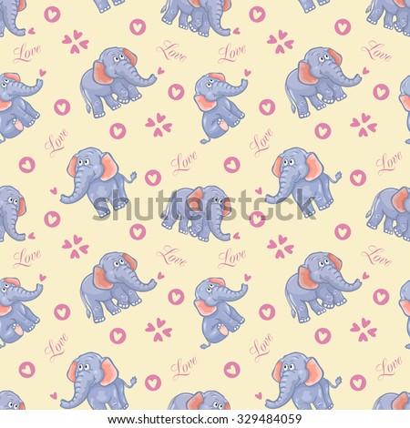 Seamless elephant kids pattern - stock photo