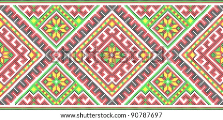 seamless embroidered good like handmade cross-stitch ethnic Ukraine pattern. Raster version over 20MPx - stock photo