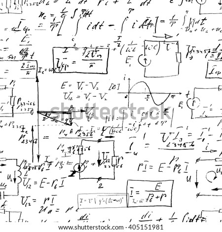Seamless endless pattern background with handwritten mathematical formulas, math relationship or rules expressed in symbols, various operations such as addition, subtraction, multiplication, division - stock photo