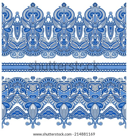 seamless ethnic floral paisley stripe pattern, border set, ukrainian tribal ornament for print or embroidery ribbon, or for the design of polygraphy or web, raster version - stock photo