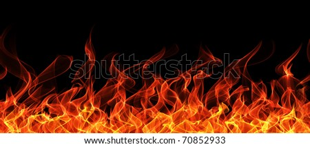 Seamless fire and flame border - stock photo