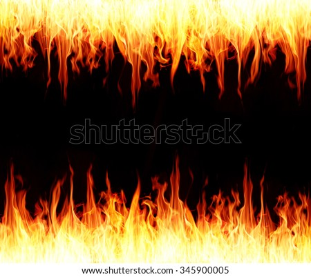 Seamless fire and flame border, fire burning background