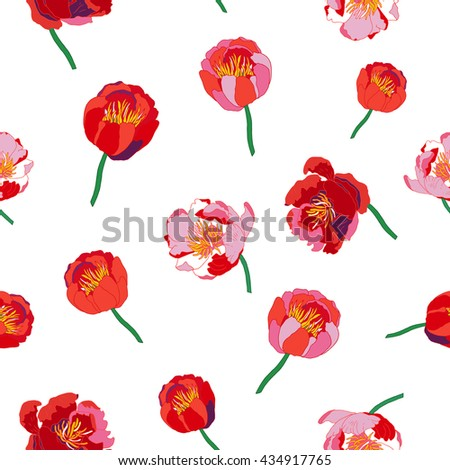 Seamless floral background. Colorful flowers and leafs on white background.