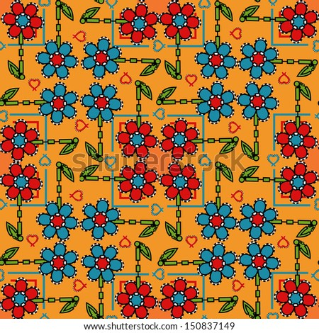 seamless floral background design of blues and reds  - stock photo