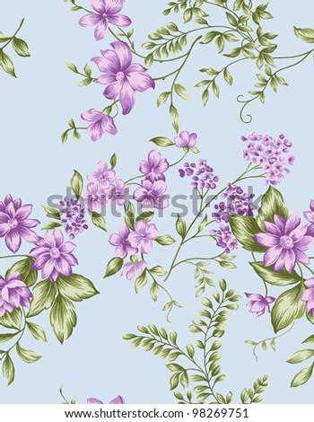 Seamless floral background. For easy making seamless pattern use it for filling any contours. - stock photo