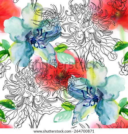 Seamless floral background with flowers. Hand painted. - stock photo