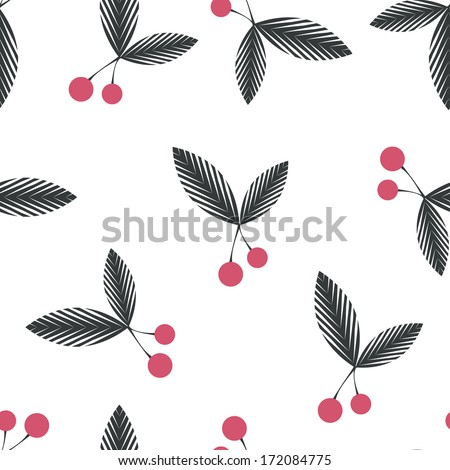 Seamless floral berry cherry pattern on white background - stock photo