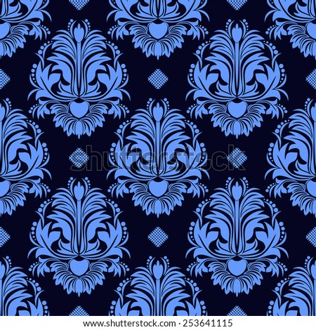 Seamless floral damask Wallpaper in blue colors. Raster version. - stock photo