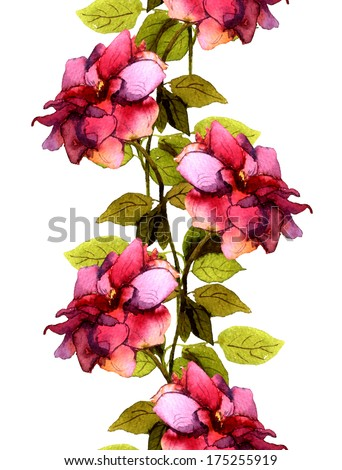 Seamless floral frame line with bright colorful pink rose flower - stock photo