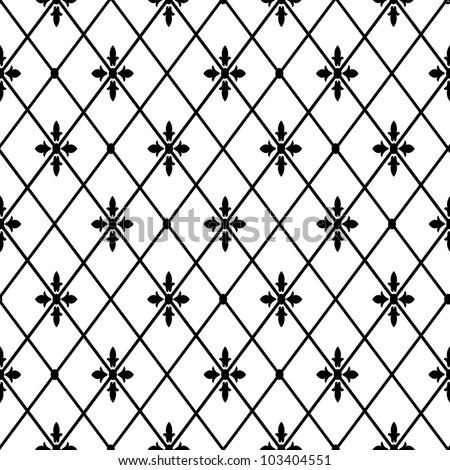 seamless floral geometric pattern black and white - stock photo