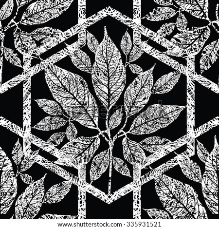 Seamless floral grunge pattern with tree leafs - stock photo