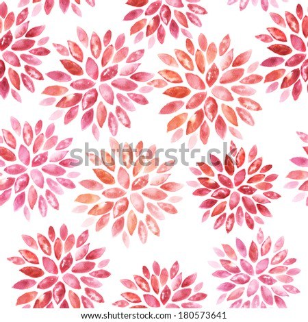 Seamless floral hand painted watercolor ornament  - stock photo