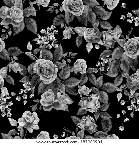 Seamless floral monochrome pattern with of roses on black background, watercolor. - stock photo