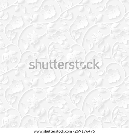 Seamless floral ornamental pattern. - stock photo