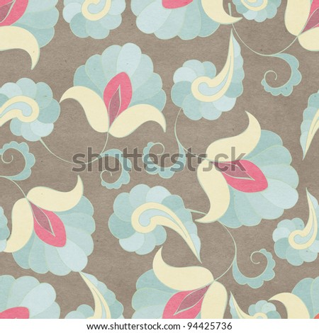 Seamless floral paisley background - stock photo
