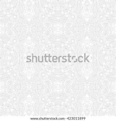 Seamless floral paisley wallpaper in white and gray colors, raster version background - stock photo