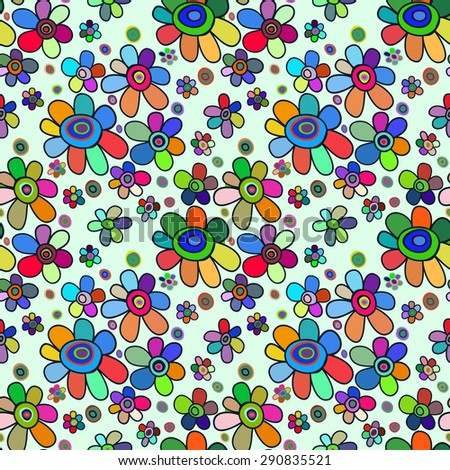 Seamless floral pattern. Bright multicolored bouquets of flowers on a light background, painted hands.  - stock photo
